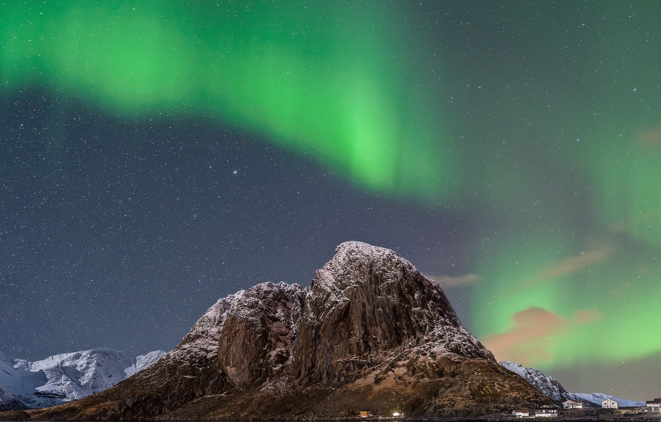 Photo wallpaper stars, mountains, home, Northern lights, Norway