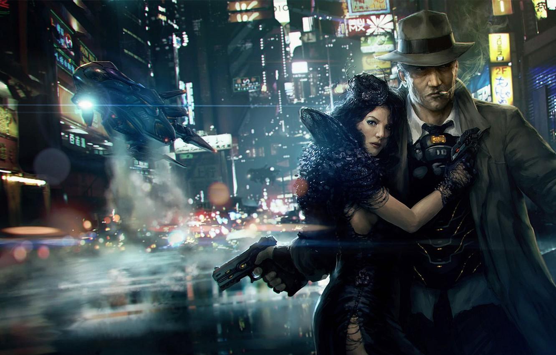 Photo wallpaper lights, cyberpunk, Noir, detective, femme fatale