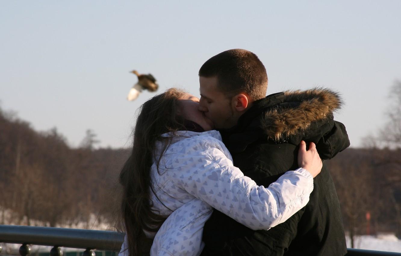 Photo wallpaper girl, love, mood, pair, guy, hot kiss