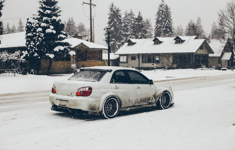 Photo wallpaper winter, snow, white, subaru