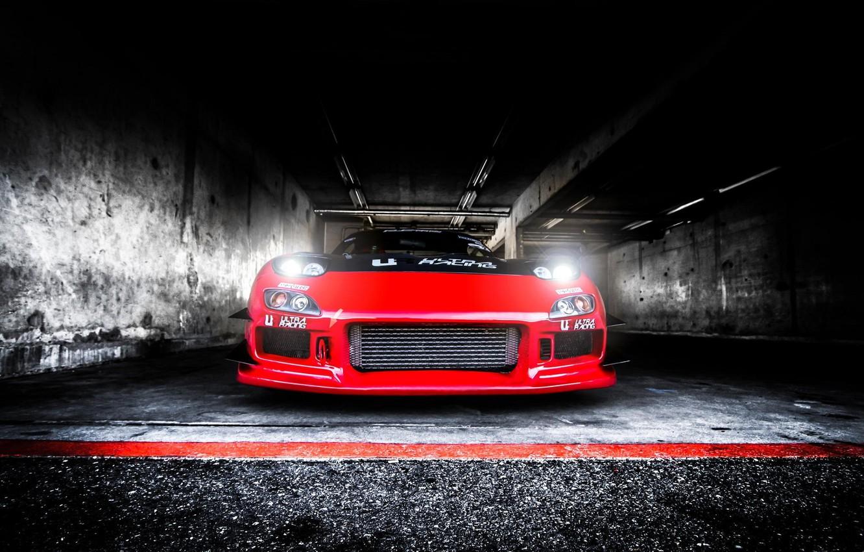 Photo wallpaper Light, Mazda, Red, Drift, Car, RX-7