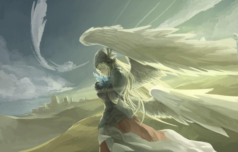 Photo wallpaper the sky, girl, clouds, wings, angel, anime, art, avamone