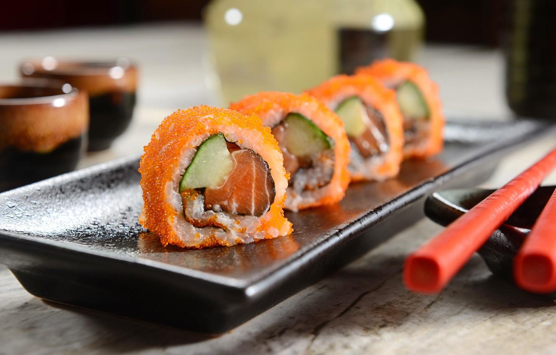Photo wallpaper caviar, rolls, sushi, sushi, eggs, rolls, filling, Japanese cuisine, Japanese cuisine