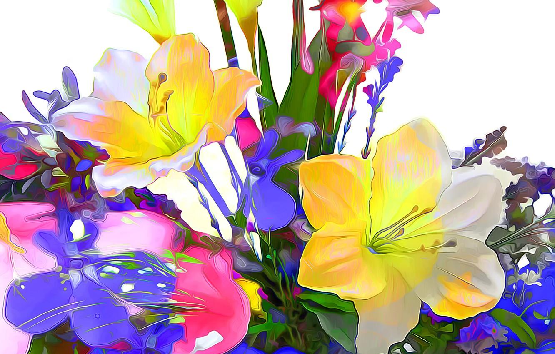 Photo wallpaper line, flowers, nature, paint, petals