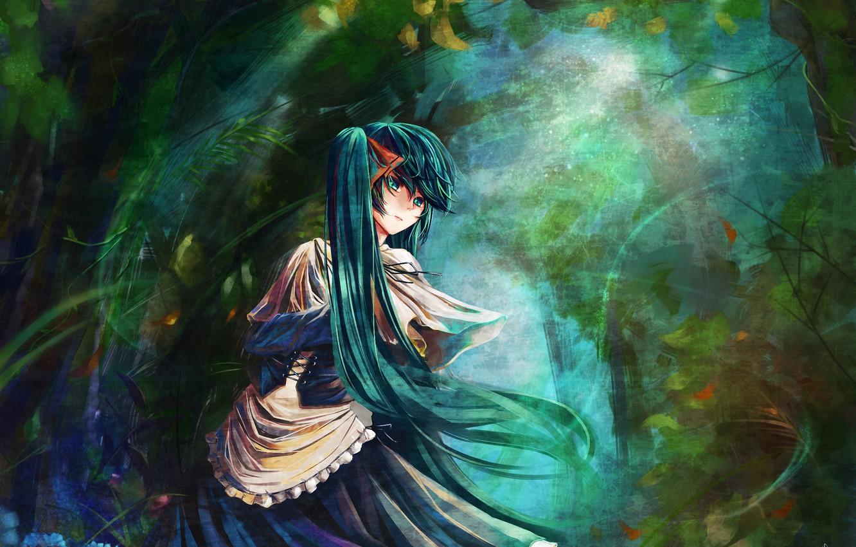 Photo wallpaper forest, anime, Hatsune Miku, Vocaloid, blue hair