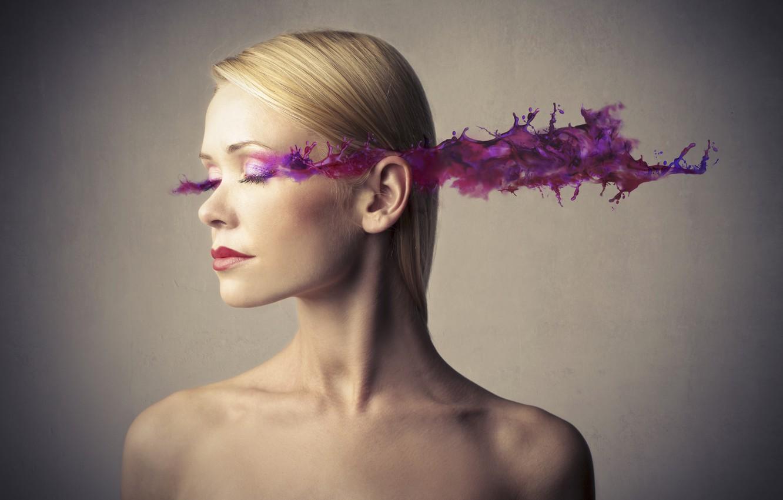 Photo wallpaper girl, makeup, blots