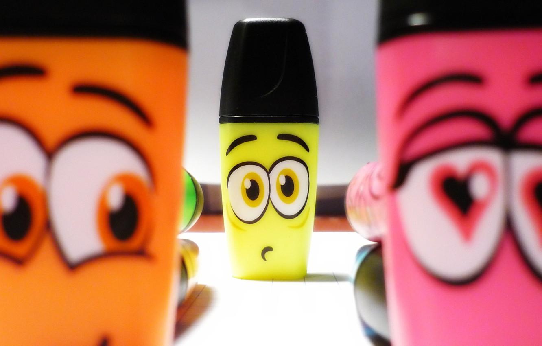 Photo wallpaper eyes, color, heart, cartoons, heart, eyes, cartoon, funny, funny, Pen colors, pencils