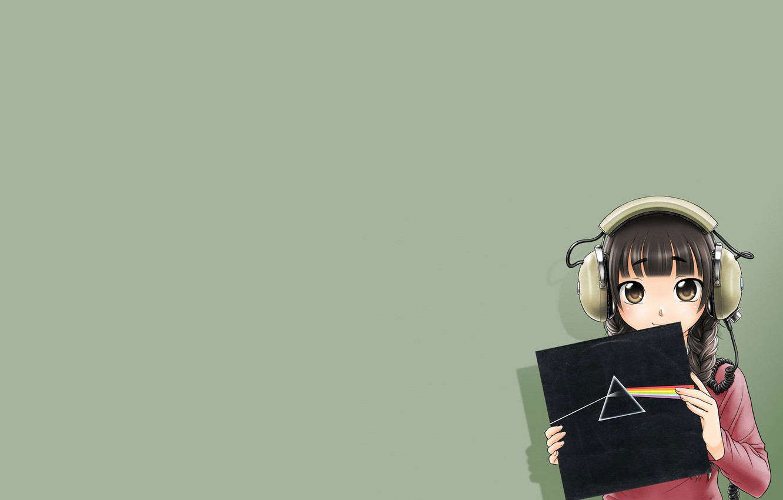 Photo wallpaper Girl, Headphones, Record, Pink Floyd, Anime, Anime, Dark Side Of The Moon, Dispersion of light, …