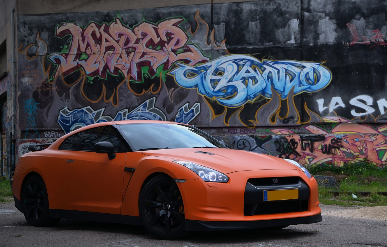 Photo wallpaper nissan, graffiti, gtr, matte, ornge