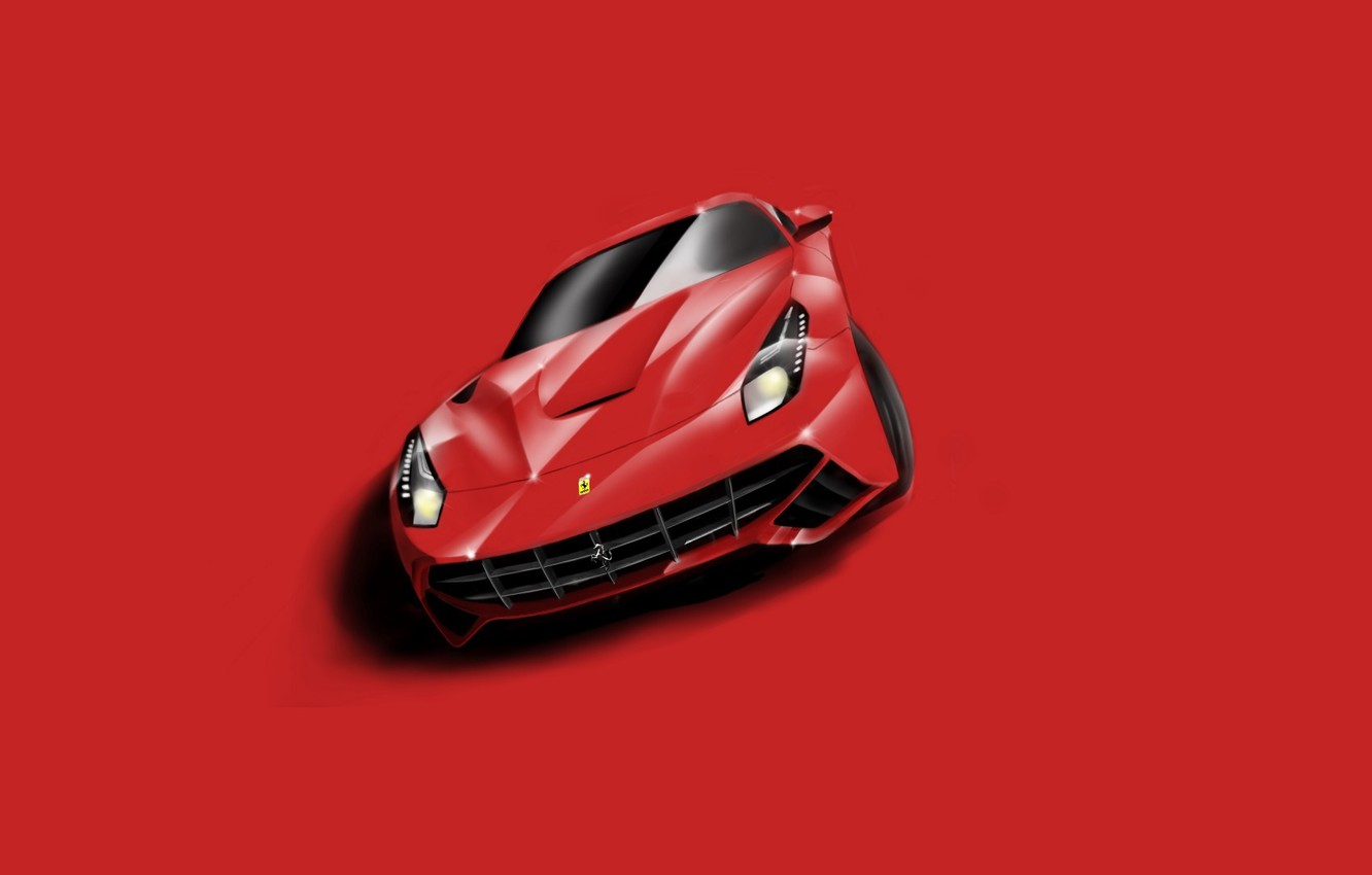 Wallpaper Ferrari Red Supercar Berlinetta F12 Minimalistic Images For Desktop Section Minimalizm Download