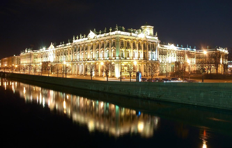 Photo wallpaper reflection, Night, Peter, Saint Petersburg, The Hermitage