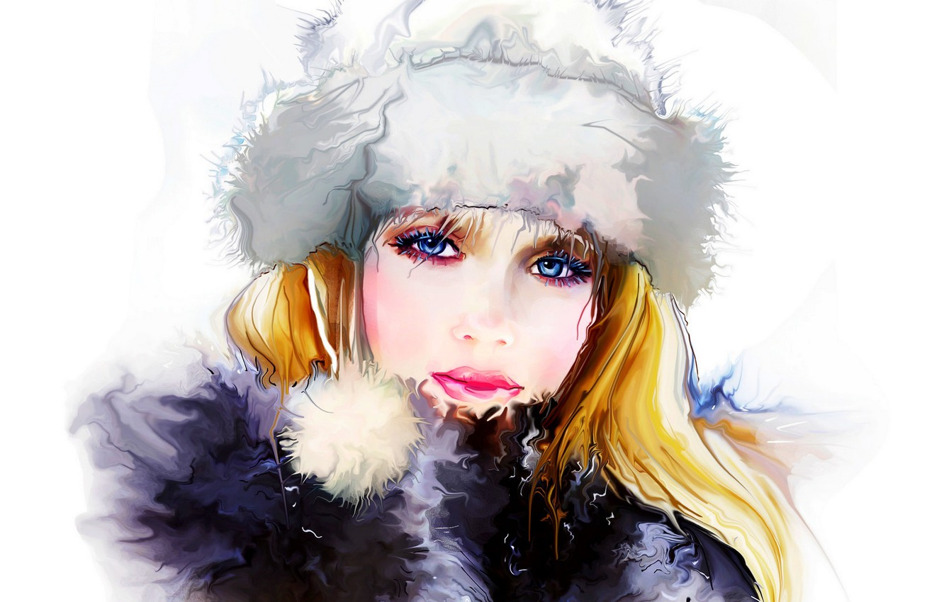 Photo wallpaper winter, girl, face, woman, girl, painting, woman, beautiful, winter, lips, face, painting, person, lips