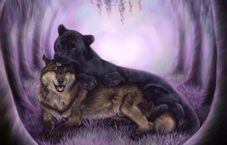 Photo wallpaper animals, wolf, predators, Panther, art, friendship, black