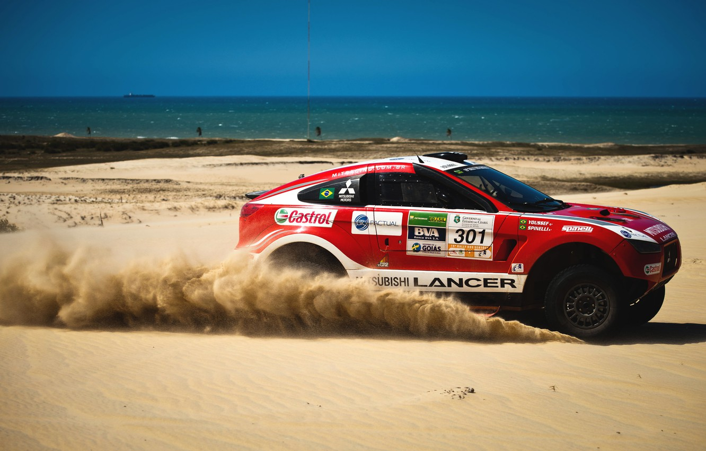 Photo wallpaper Sand, Red, Sea, Auto, Sport, Desert, Machine, Speed, Race, Mitsubishi, Day, Mitsubishi, Heat, Coast, Rally, …