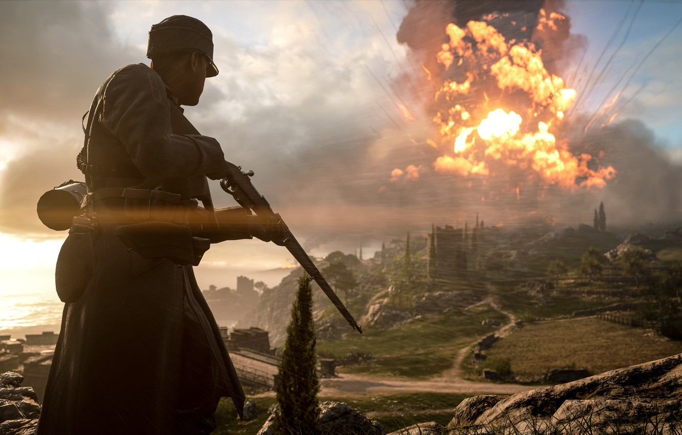 Photo wallpaper the explosion, background, war, soldiers, Electronic Arts, Battlefield 1
