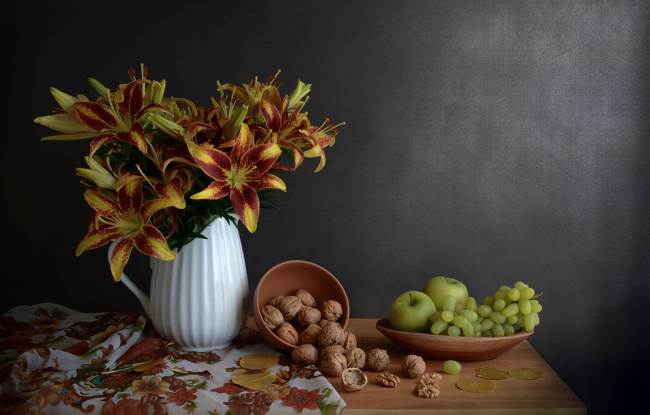 Photo wallpaper flowers, apples, Lily, grapes, nuts, still life