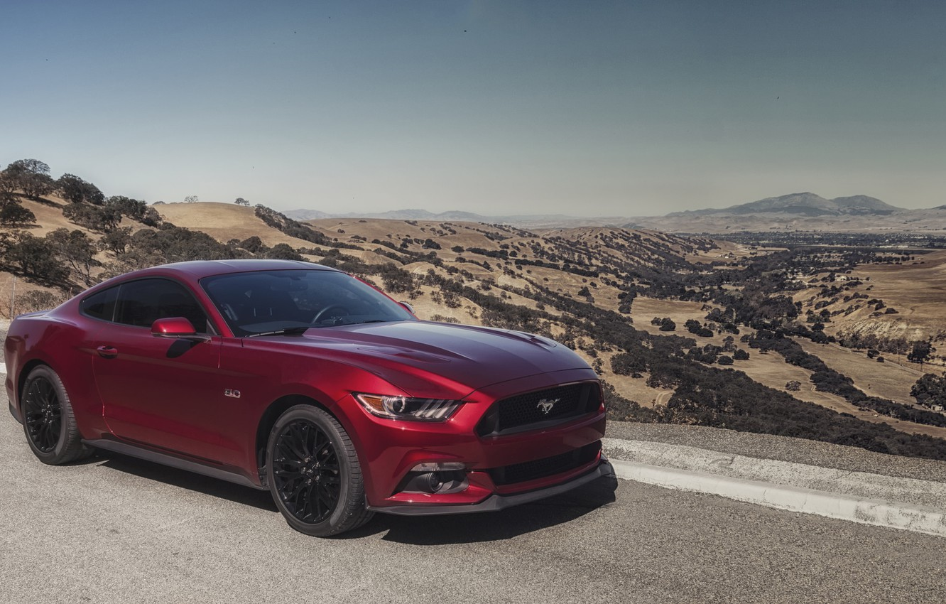 Photo wallpaper mustang, red, ford, road, 5.0, mountains
