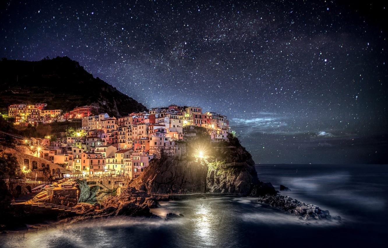Photo wallpaper night, lights, Italy, Italia, Manarola, Manarola, Cinque Terre, Liguria, Liguria
