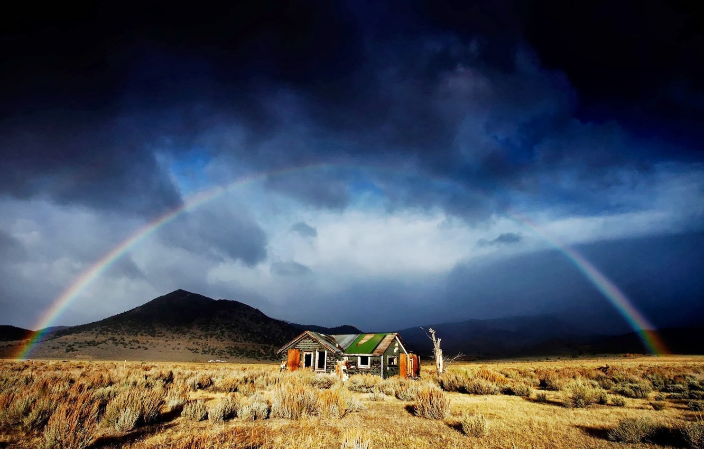 Wallpaper Rainbow House Grass Sky Landscape Mountains