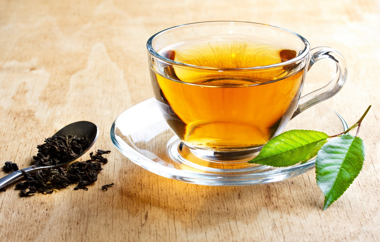 Photo wallpaper table, tea, spoon, Cup, drink, saucer, leaves, welding