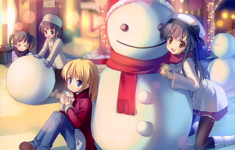 Photo wallpaper winter, mood, anime, snowman, friends