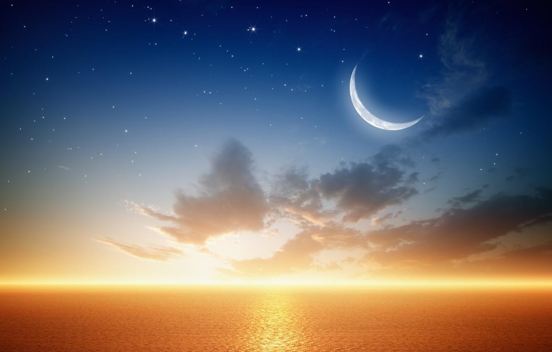 Photo wallpaper sea, planet, stars