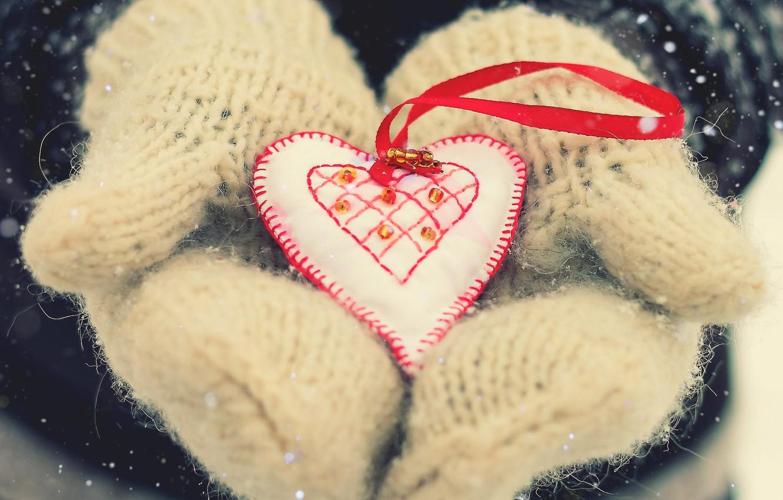 Photo wallpaper snow, love, heart, mittens, Valentine's day, winter holidays