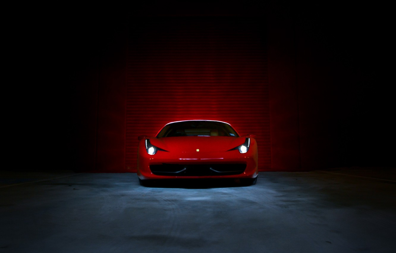 Photo wallpaper light, lights, Boxing, red, ferrari, Ferrari, Italy, the front, 458 italia