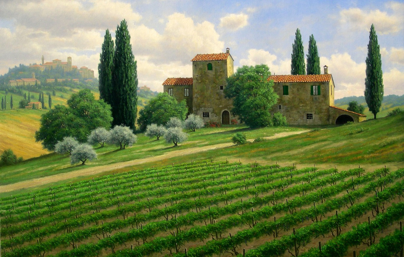 Photo wallpaper trees, landscape, house, hills, field, picture, Italy, the vineyards, cypress, Mark Pettit