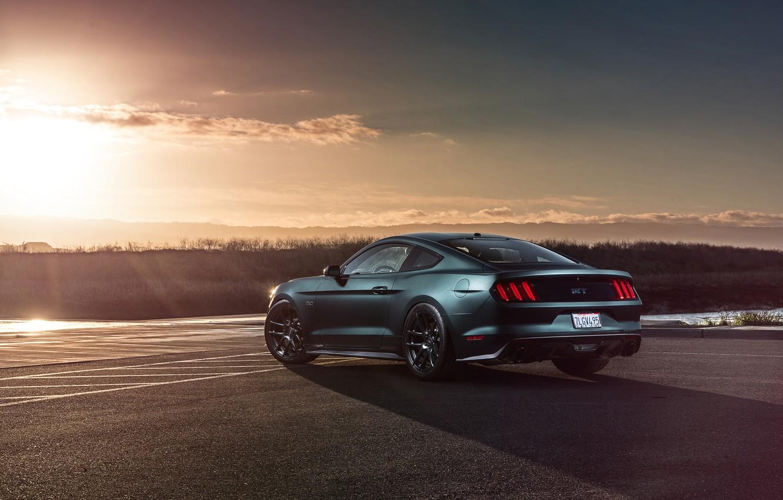 Photo wallpaper Mustang, Ford, Muscle, Car, Sunset, Wheels, Rear, 2015, Velgen