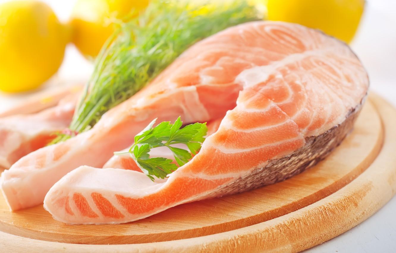 Photo wallpaper food, fish, dish, salmon, steak