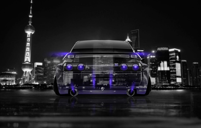 Photo wallpaper Night, The city, Neon, Style, Nissan, GTR, City, Nissan, Purple, Photoshop, Photoshop, R32, Skyline, Neon, …