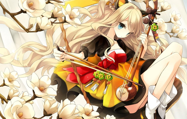 Photo wallpaper girl, flowers, branch, art, vocaloid, bow, ears, Vocaloid, seeu, hajida