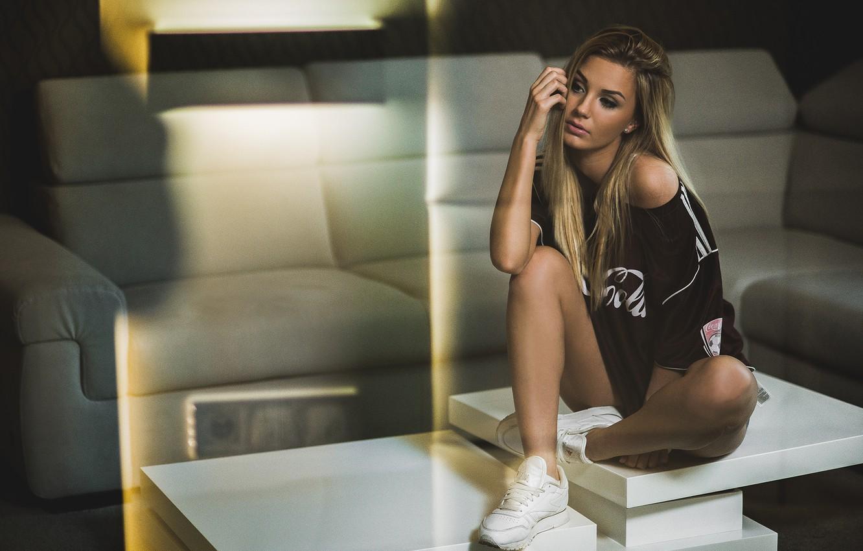 Photo wallpaper girl, style, sneakers, t-shirt, blonde, girl, model, swag, Jacob Mrozek