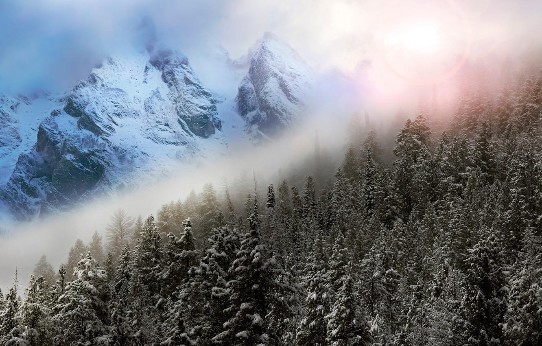 Photo wallpaper winter, the sky, mountains, fog, glare, photoshop