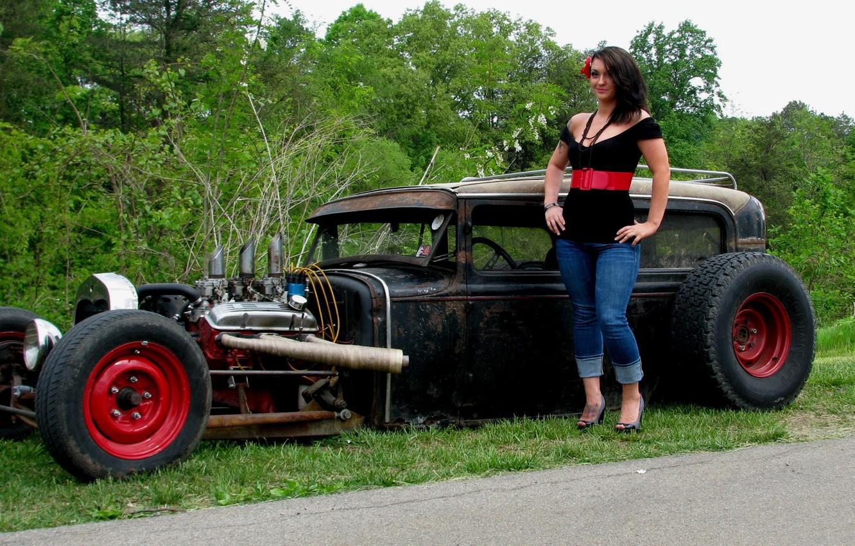 Photo wallpaper auto, girl, hot road, Ford Model A Sedan 1930 Rat Rod (Carl's Custom Cars)