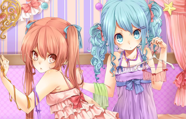 Photo wallpaper look, girl, star, anime, dress, bow, loli