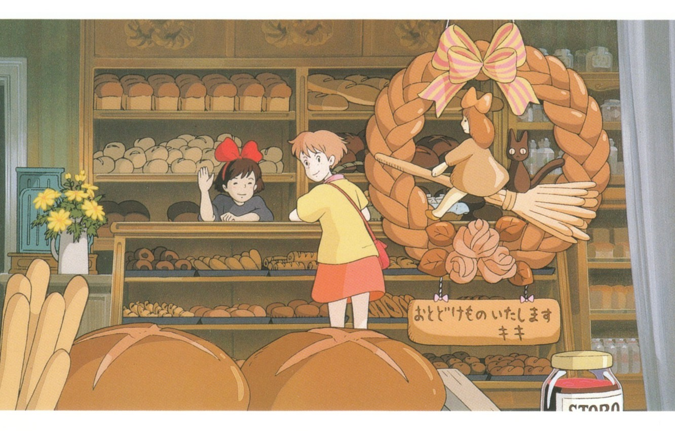 Wallpaper Bread Sign Two Shop Art Shelves Kiki S Delivery
