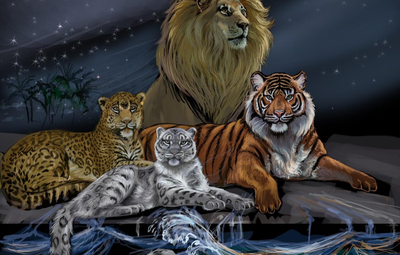 Photo wallpaper wave, animals, the sky, look, water, tiger, the moon, predators, Leo, art, leopard, mane, the …