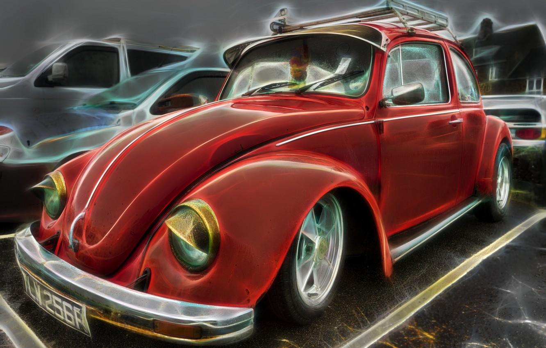 Photo wallpaper retro, beetle, Beetle, renderin