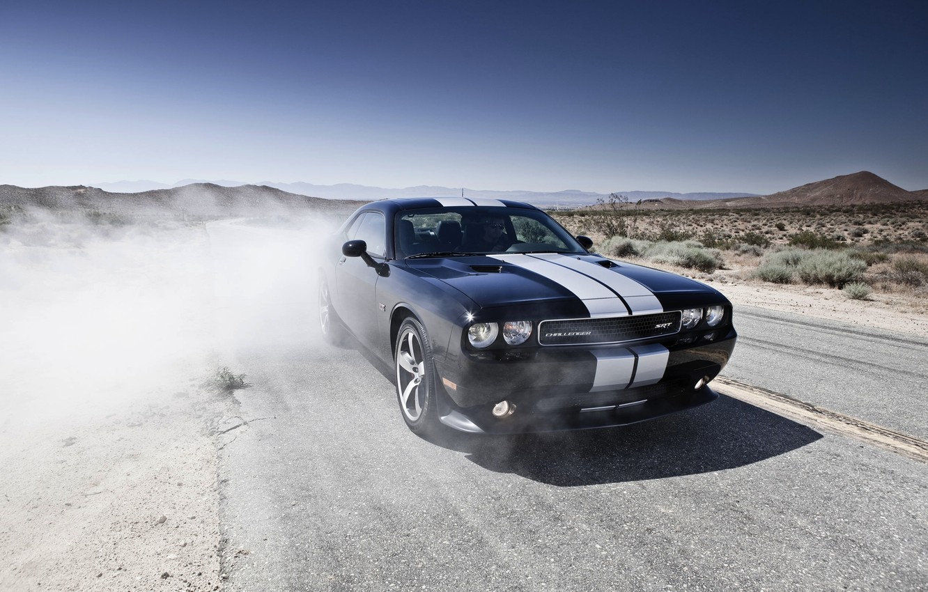Photo wallpaper Road, Black, Machine, The hood, Day, Dodge, Challenger, Heat, The front