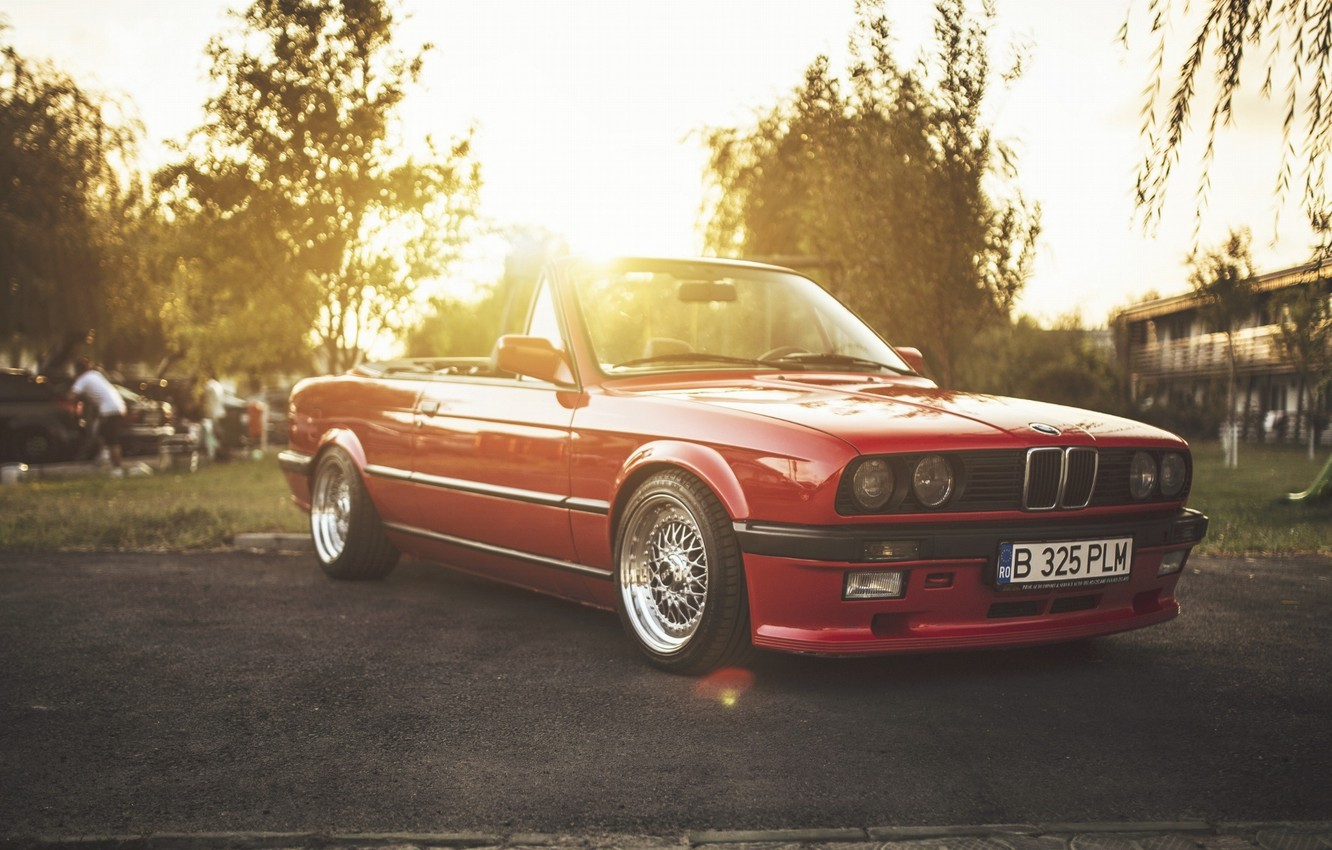 Photo wallpaper BMW, Red, Car, Sun, E30, Cabriolet, Stance, LowSociety