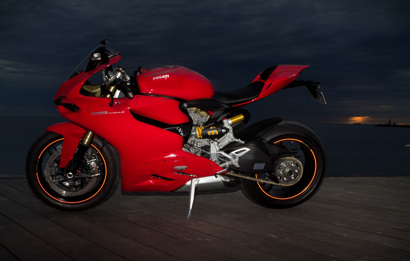 Photo wallpaper the sky, red, clouds, pierce, red, Ducati, twilight, Ducati, 1199, Panigale