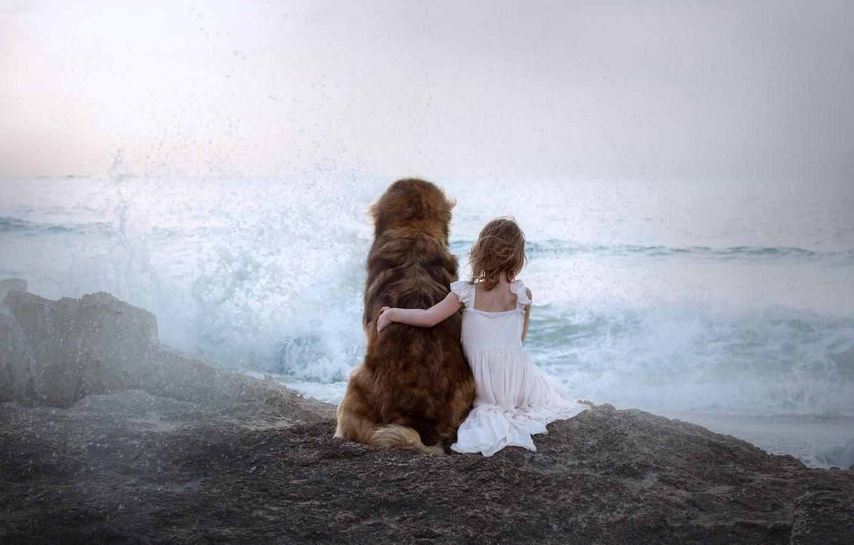 Photo wallpaper sea, dog, girl