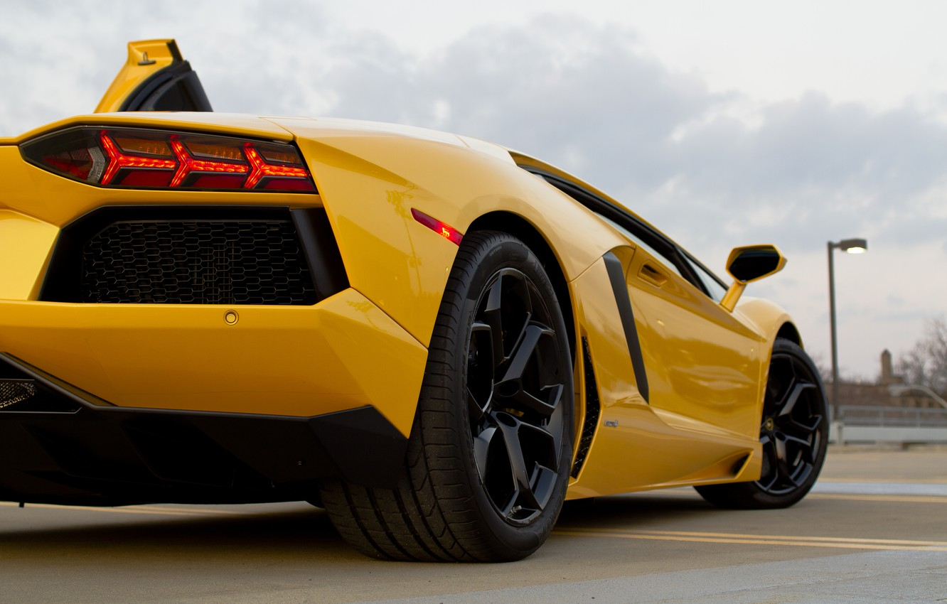 Photo wallpaper asphalt, strip, yellow, lamborghini, yellow, back, headlights, aventador, lp700-4, Lamborghini, aventador