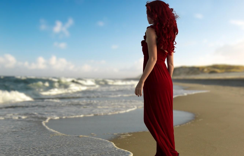 Photo wallpaper beach, water, girl, beauty
