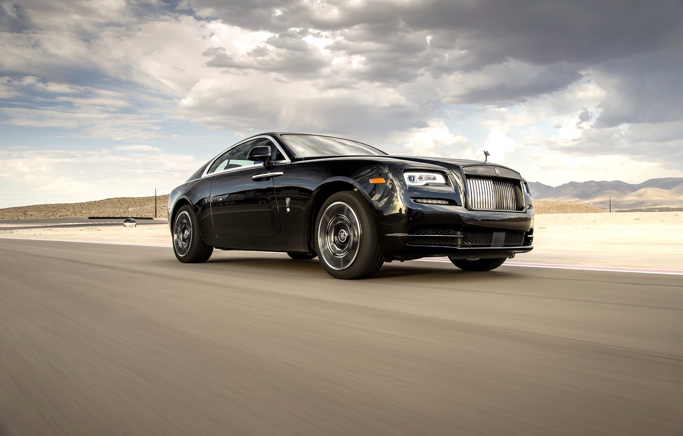 Photo wallpaper road, auto, the sky, clouds, Rolls-Royce, the front, Wraith, Black Badge