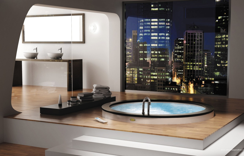 Photo wallpaper pool, mirror, bath, Jacuzzi, sink, bathroom, the jets