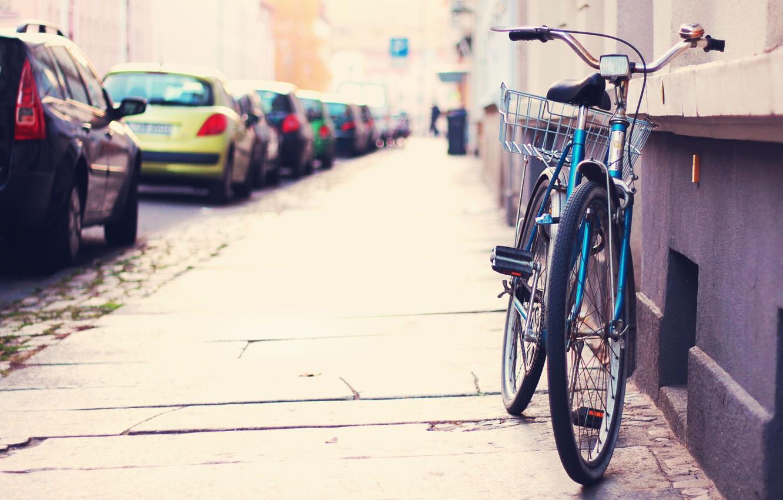 Photo wallpaper machine, bike, the city, street, Parking, the sidewalk, street, tilt-shift, Alone bicycle