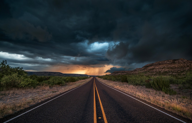 Photo wallpaper road, asphalt, clouds, clouds, storm, nature, the evening, USA, Texas